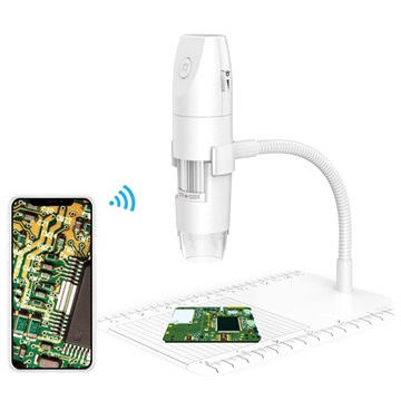50X-1000X WiFi Digitaalinen Mikroskooppi Jalustalla - Valkoinen