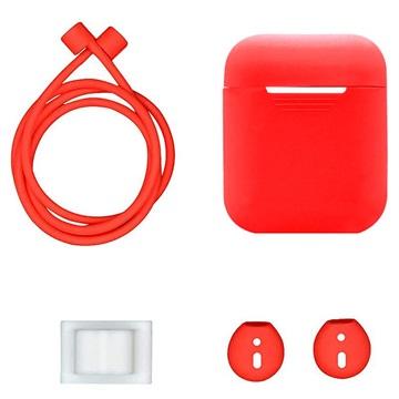 4-in-1 Apple AirPods / AirPods 2 Silikonilisävarustepaketti - Punainen