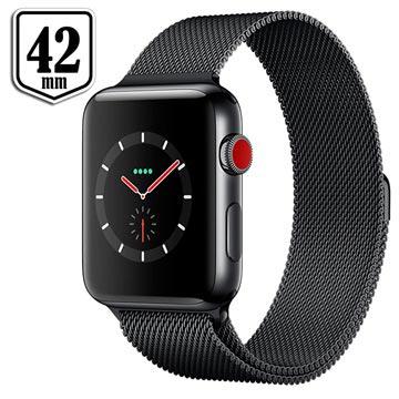 Apple Watch Series 3 LTE MR1V2ZD/A - Ruostumaton Teräskuori, Milanolaisranneke, 42mm, 16Gt - Tummanoliivi/Tähtiharmaa