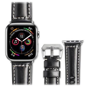 Qialino Apple Watch Series 4/3/2/1 Nahkaranneke - 42mm, 44mm - Musta