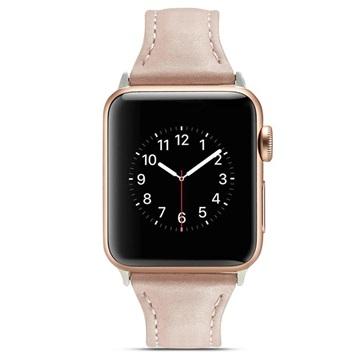 Apple Watch Series 4/3/2/1 Ohut Nahkahihna - 44mm, 42mm - Vaaleanpunainen