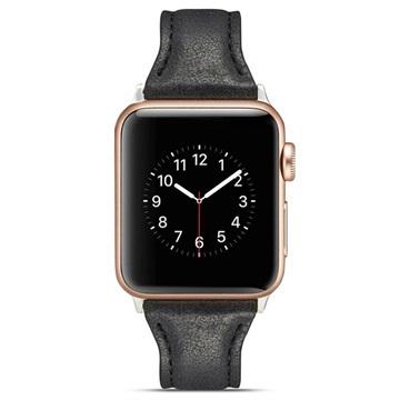 Apple Watch Series 4/3/2/1 Ohut Nahkaranneke - 40mm, 38mm - Musta