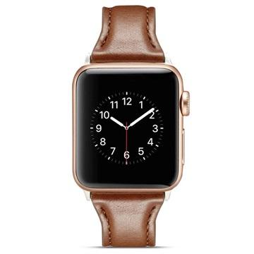 Apple Watch Series 4/3/2/1 Ohut Nahkaranneke - 40mm, 38mm - Kahvi