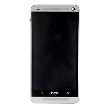 HTC One Etukansi & LCD-Näyttö - Hopea