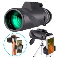 40x60 HD Lens Portable Monocular with Tripod Stand - Black