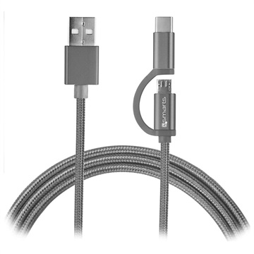 4smarts ComboCord Fabric MicroUSB & Type-C Cable - 1m