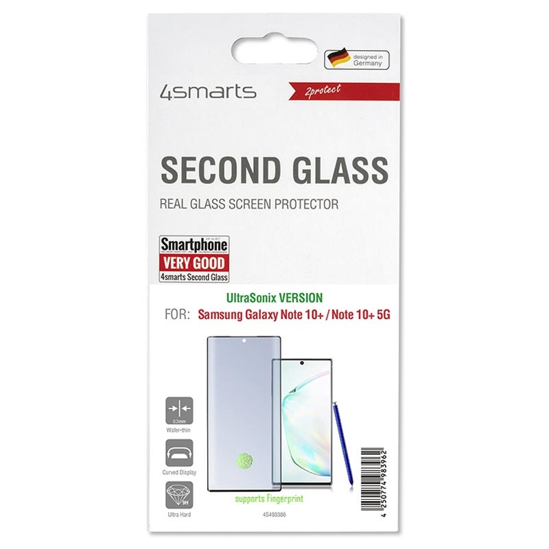 4smarts Second Glass UltraSonix Samsung Galaxy Note10+ Panssarilasi - Musta