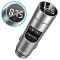 Baseus Energy Column QC3.0 Autolaturi / Bluetooth FM Lähetin - Hopea