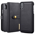 DG.Ming 2-in-1 iPhone X / iPhone XS Wallet Leather Case - Black