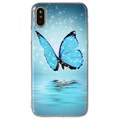 iPhone X Glow in the Dark Silicone Case - Blue Butterfly