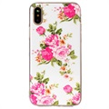 iPhone X Glow in the Dark Silicone Case - Pink Flowers