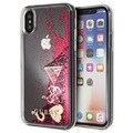 Guess Glitter Collection iPhone X / iPhone XS Suojakotelo - Vadelma