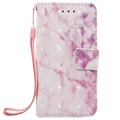 iPod Touch 5G, iPod Touch 6G Marble Wallet Case - Hot Pink / White