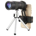 Portable Zoom Telescope Camera Lens with Tripod - Black