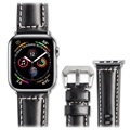 Qialino Apple Watch Series SE/6/5/4/3/2/1 Nahkaranneke - 42mm, 44mm - Musta