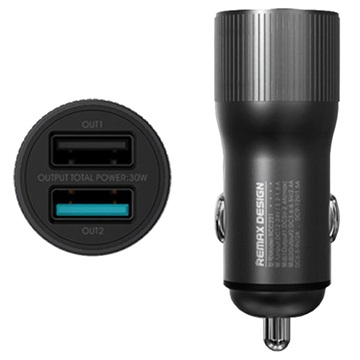 Remax Retour Dual USB Car Charger with QC3.0 - 30W - Black