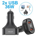 Vinsic VSCC208 Qualcomm Quick Charge 3.0 Autolaturi - 2x USB, 6A, 36W