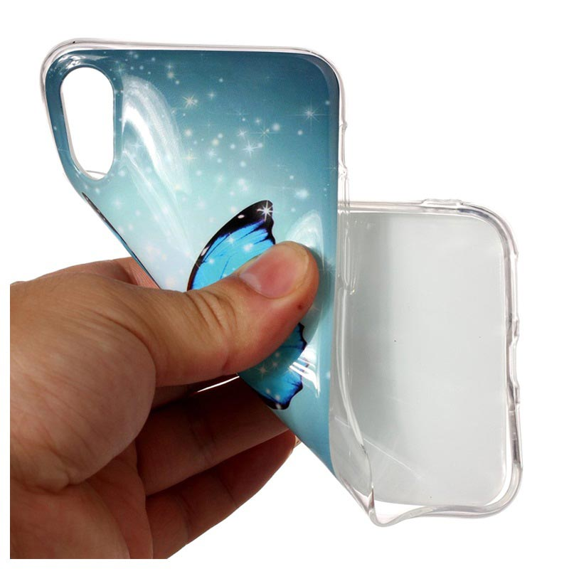 iPhone X / iPhone XS Glow in the Dark Silikonikotelo - Sininen Butterfly