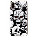 iPhone X / iPhone XS Glow in the Dark Silikonikotelo - Scary Skulls