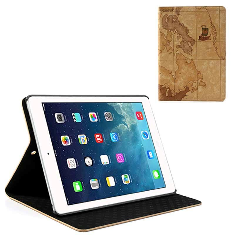 iPad Air World Map Folio Kotelo - Ruskea